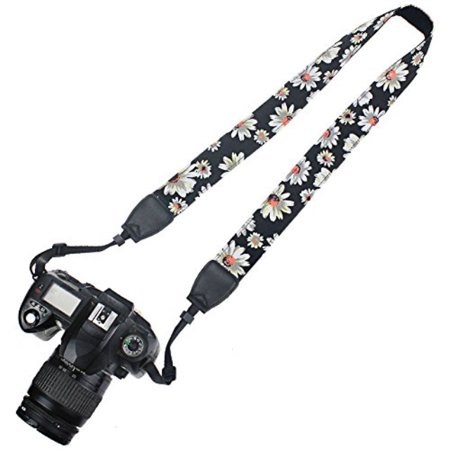 Camera Shoulder Neck (Elvam Printed Stylish Camera Neck Shoulder Strap Belt for Men/Women Compatible with Universal DSLR/SLR/Nikon Canon Sony Pentax Fuji ETC, Black Flower )
