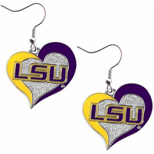NCAA LSU Swirl Heart Shape Dangle Logo Earring Set