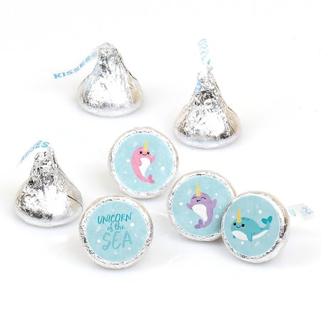 Narwhal Girl - Under The Sea Baby Shower or Birthday Party Round Candy Sticker Favors - Labels Fit Hershey's Kisses (1 Sheet of 108) (Narwhal Baby Shower)