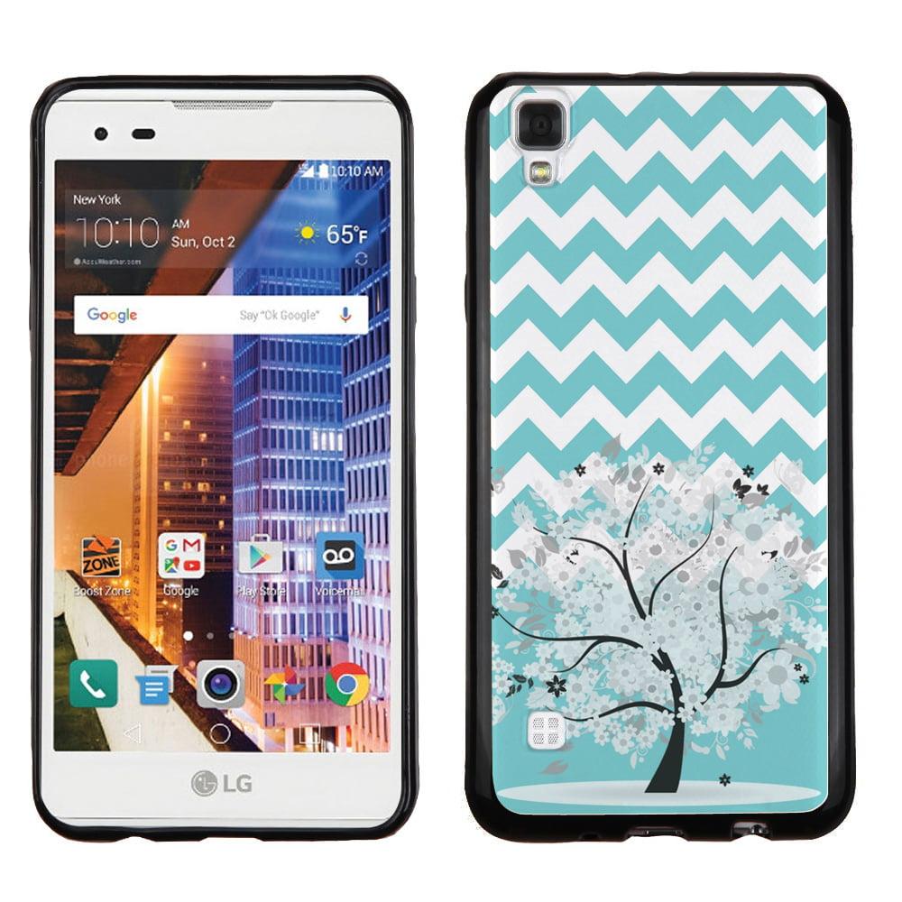 One Tough Shield ® Slim-Fit Premium TPU Gel Phone Case  (Black Bezel) for LG Tribute HD / LS676 - Chevron/Teal/Tree