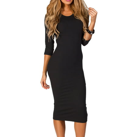 Women's 3/4 Sleeve Midi Bodycon Dress (Black, Medium) - Black Blue Dress Halloween