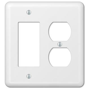 White Metal Rocker GFCI Duplex Outlet Cover Wall Plate Combo Enamel Finish Combo Hall Light Outlet