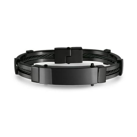 Black Identification Name Plate Cable Link Engravable ID Bangle Bracelet For Men Stainless - Black Link Bracelet