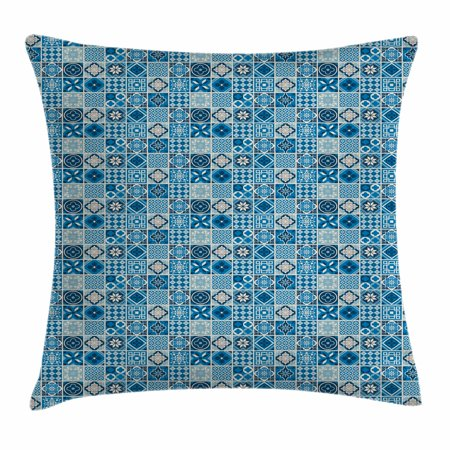Navy Blue Throw Pillow Cushion Cover, Grid Style Squares with Ornamental Floral and Geometric Arrangement Abstract, Decorative Square Accent Pillow Case, 18 X 18 Inches, Multicolor, by Ambesonne