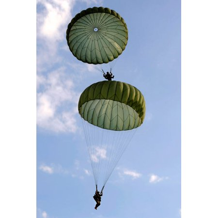 - US Army Soldiers parachute down after jumping from a C-130 Hercules Poster Print by Stocktrek Images
