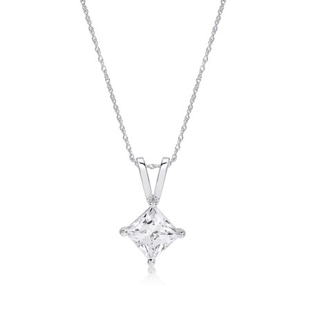 Princess Cut Pendant Necklace made with Zirconia from Swarovski, 18