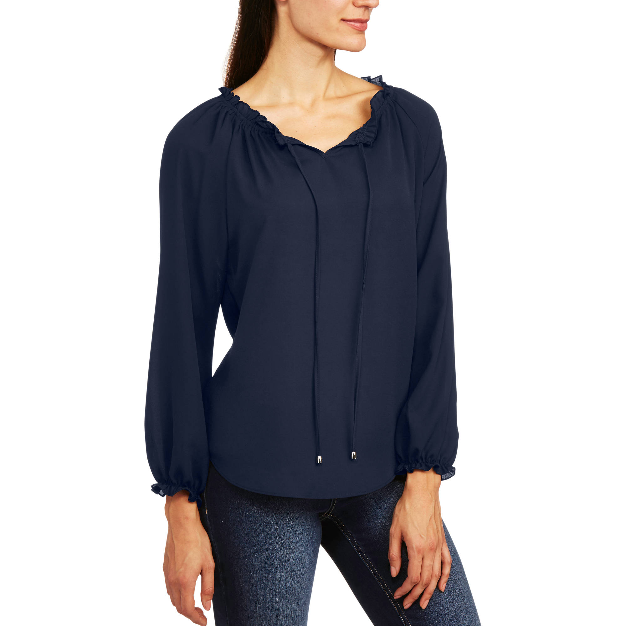 Glamour & Co. Women's Long Sleeve Peasant Top