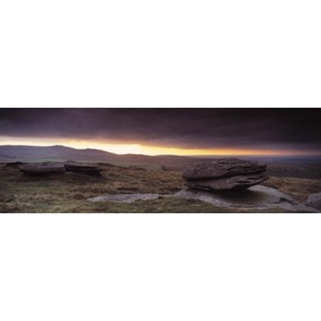 Bright Horizon With Dark Clouds From Higher Tor Dartmoor Devon England Canvas Art   Panoramic Images  36 X 12
