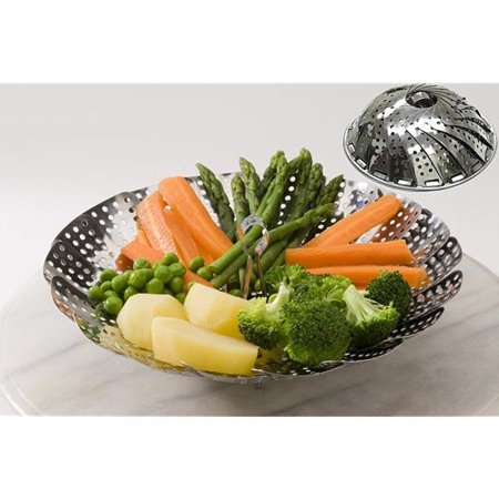 Vegetable Steamer Basket Stainless Steel Folding Collapsible Insert for Various Size Pots by Delightful