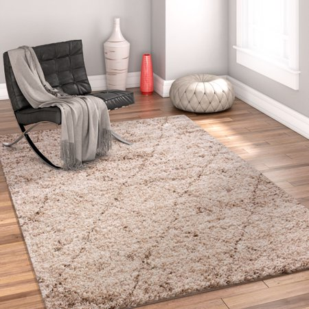 Modern Geometric Lattice Shag 5x7 ( 5' x 7'2'' ) Area Rug Mazie Moroccan Trellis Beige Cream Plush Easy Care Thick Soft Plush Living Room