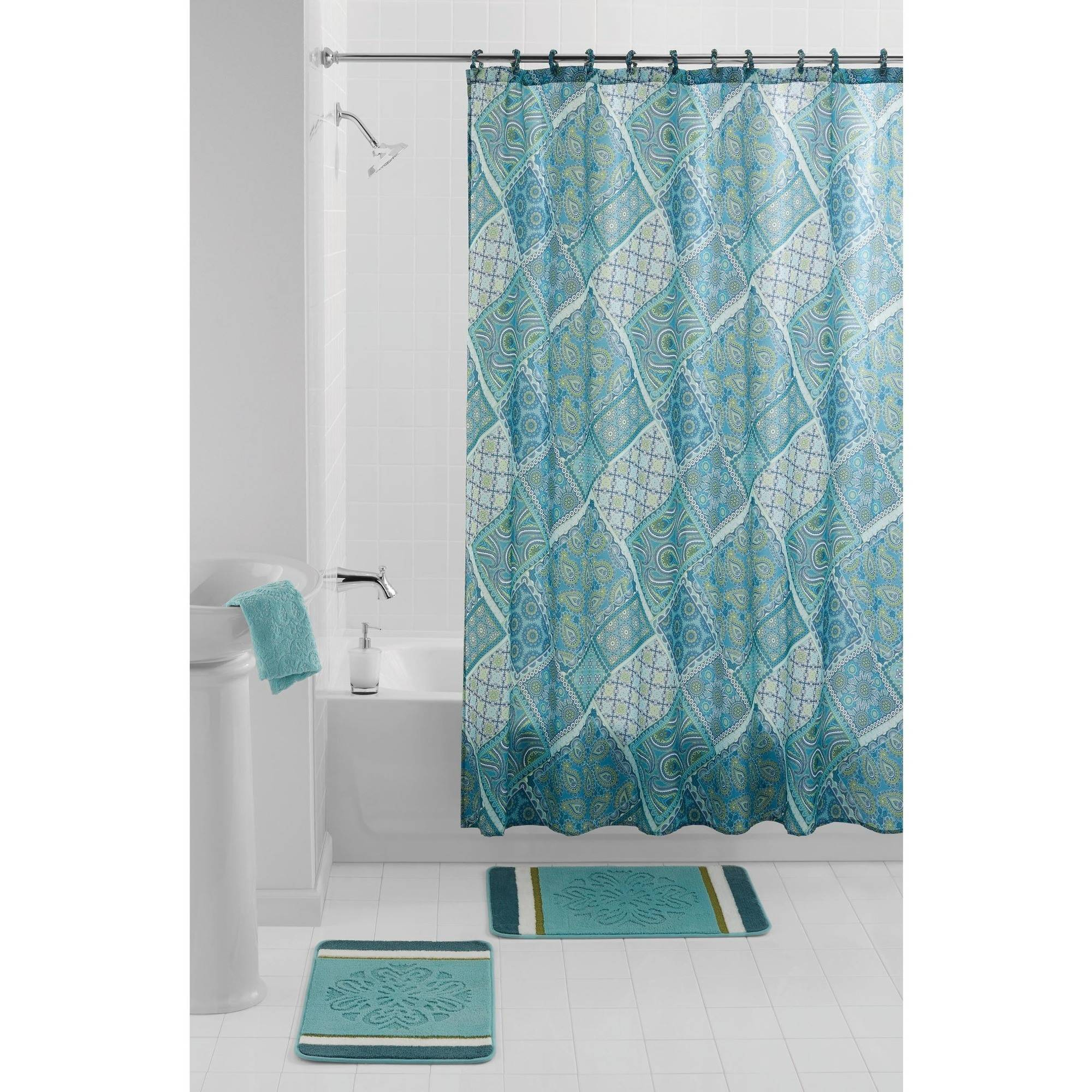 Mainstays Hadley Teal PEVA Shower Curtain 1 Each