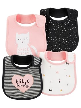93aad16795f1 Product Image Carter's Baby Girls' 4-Pack Kitty Teething Bibs, ...