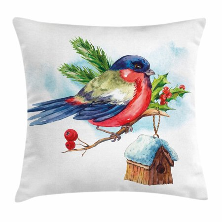 Rowan Throw Pillow Cushion Cover  Merry Christmas Composition With Cute Bullfinch Holly Pine Cone Bird House In Winter  Decorative Square Accent Pillow Case  24 X 24 Inches  Multicolor  By Ambesonne