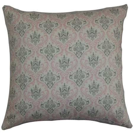 Average Throw Pillow Sizes : Paulomi Damask Twill Pink Feather Filled 18-inch Throw Pillow Size - Walmart.com