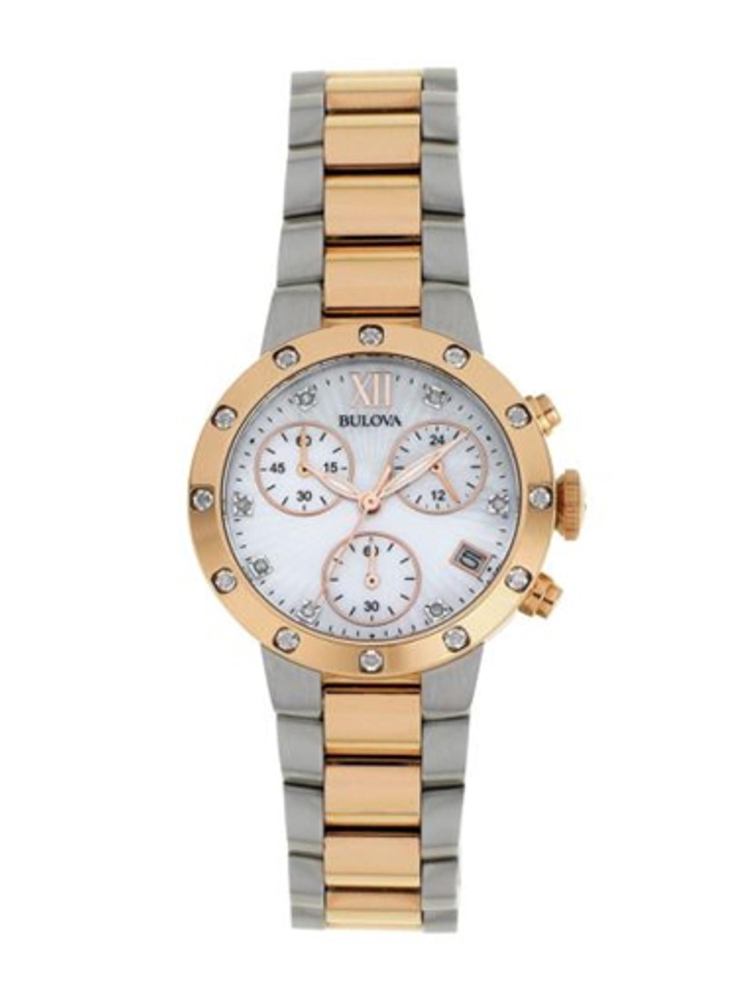 Bulova Ladies Diamond Rose Gold Tone Chronograph Watch