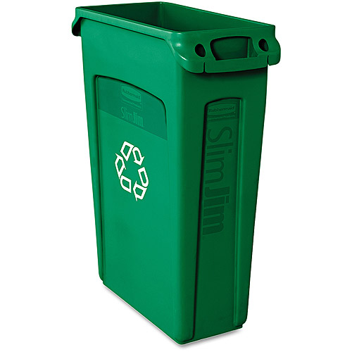 Rubbermaid Commercial Slim Jim Green Plastic Recycling Container With Venting Channels, 23 gal