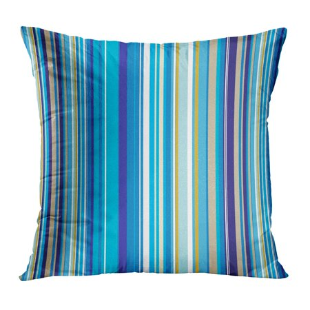 BOSDECO Yellow Color Abstract Vert Blue Stripes That Makes Ideal Colorful Cyan Fun Funky Graphic Line Pillowcase Pillow Cover Cushion Case 16x16 inch - image 1 de 1