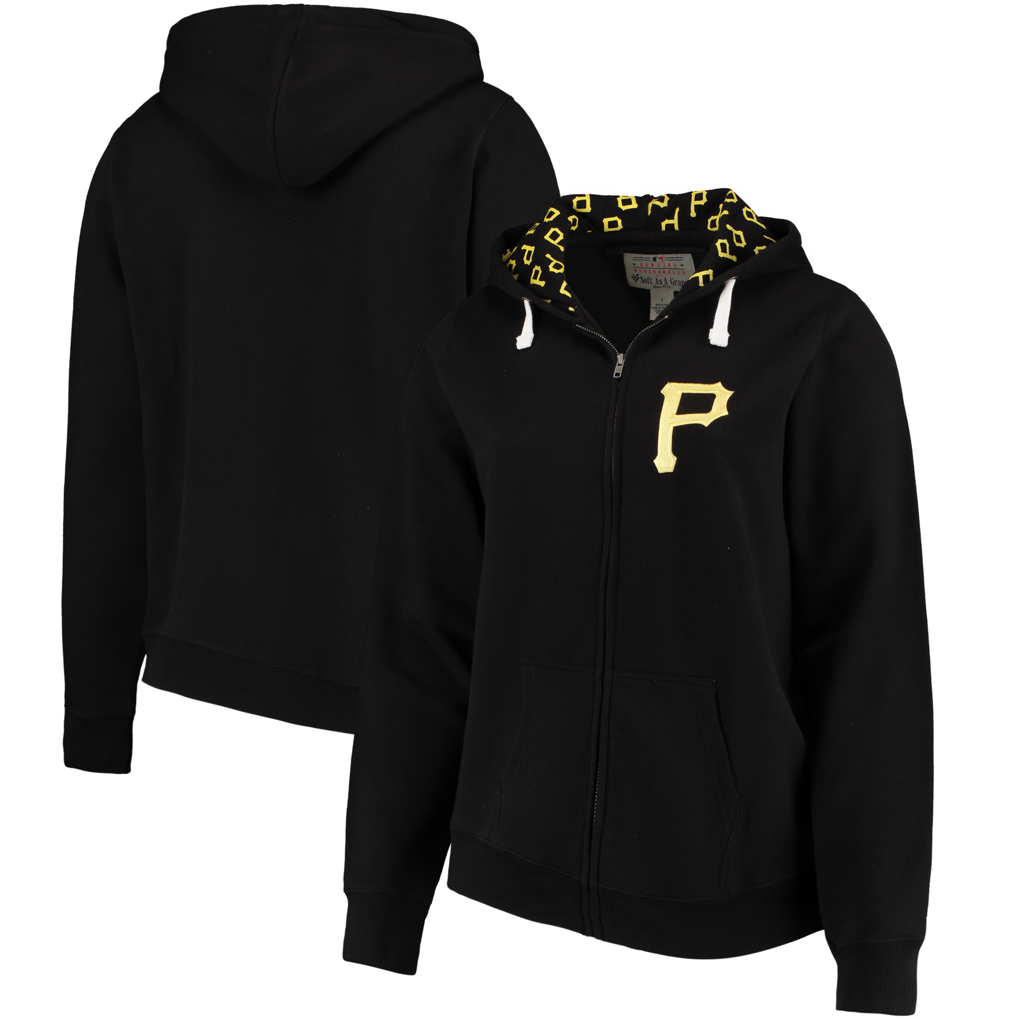 Pittsburgh Pirates Soft as a Grape Women's Plus Size Pennant Race Full-Zip Hoodie - Black