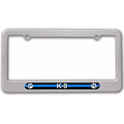 Police License Plate Tag Frame Thin Blue Line K-9 Unit Paw Prints