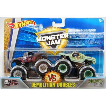 Monster Jam Metal Mulisha vs Soldier Fortune Hot Wheels Demolition Doubles Trucks Mattel