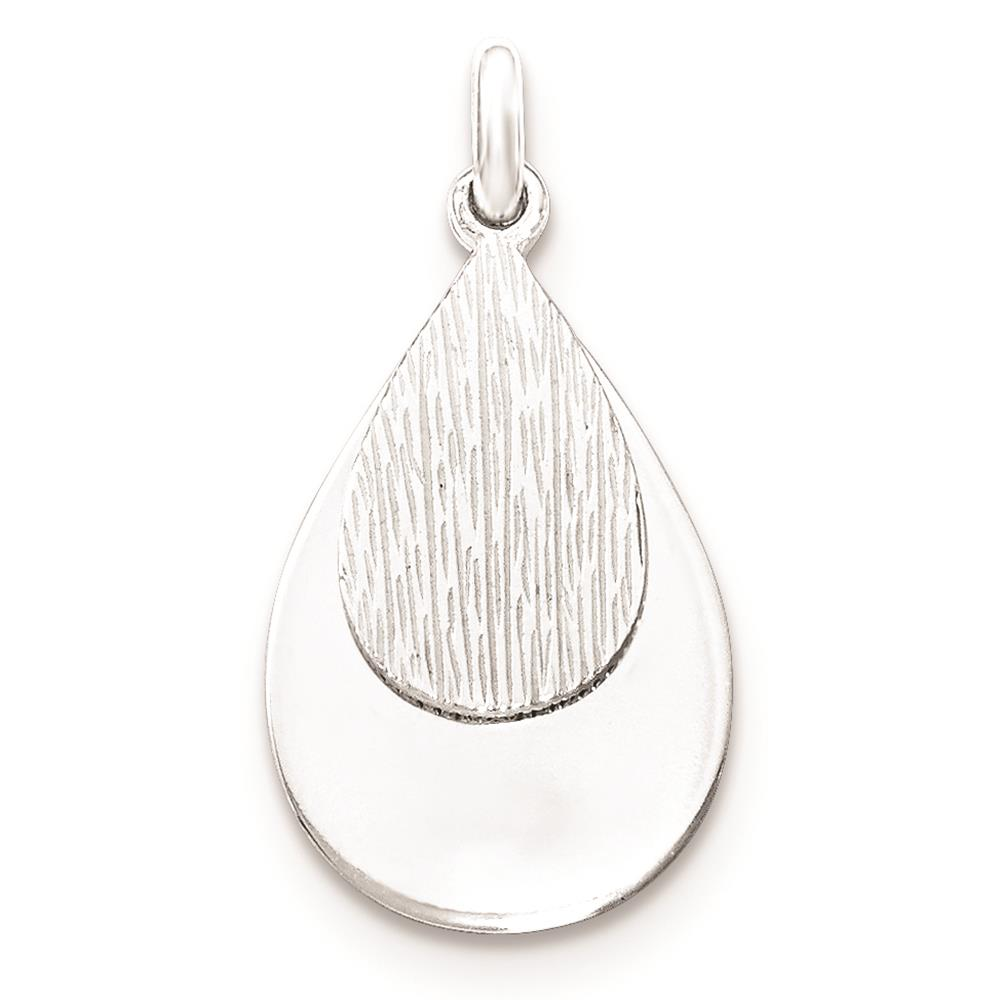 925 Sterling Silver and Textured Polished Flat-back Charm Pendant