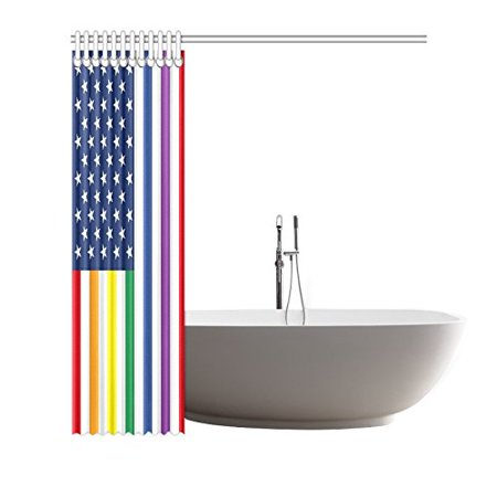 GCKG American Flag with LGBT Colors Shower Curtain, Rainbow Pride Polyester Fabric Shower Curtain Bathroom Sets 60x72 Inches - image 2 of 3