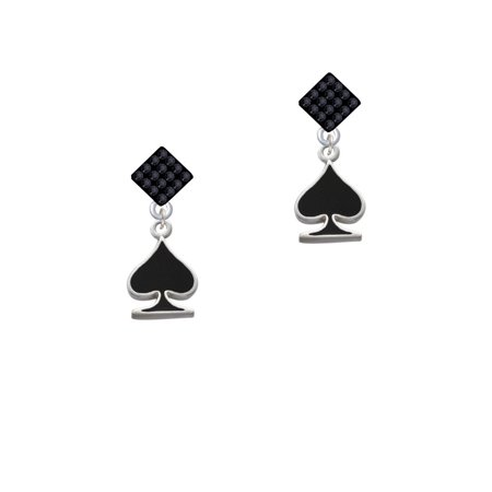 Card Suit - Spade Black Crystal Diamond-Shape Earrings (Card Suit Jewelry)