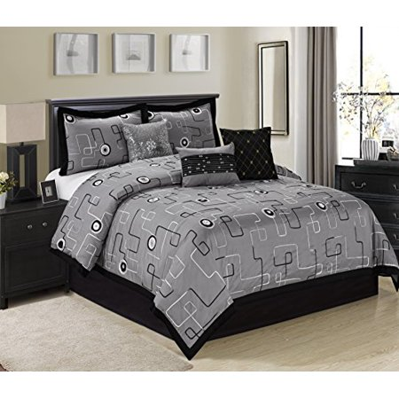 7 Piece PERIWINKLE Modern Design With Ribbon Embroidery Clearance bedding Comforter Set Fade Resistant, Wrinkle Free, No Ironing Necessary, Super Soft, All Size Queen King CalKing (Cal.King, Gray)