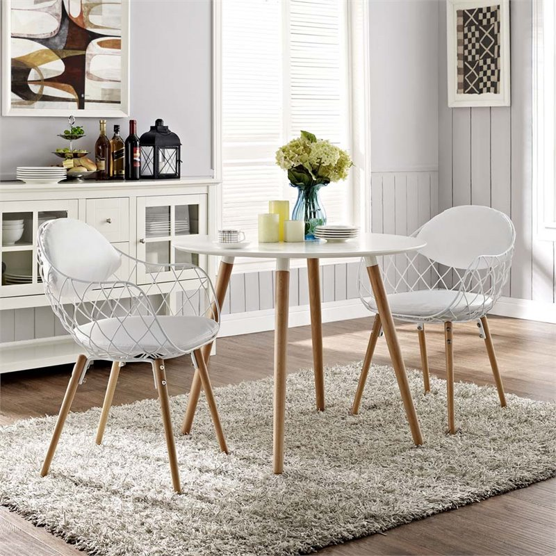 Modway Basket Dining Armchair with Vinyl Seat, Set of 2 in White