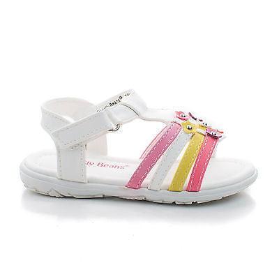 Yummy by Jelly Beans, Infant Girl Flower Studded Hook & Loop Open Toe Flat Sandals - Flower Girl Sandals