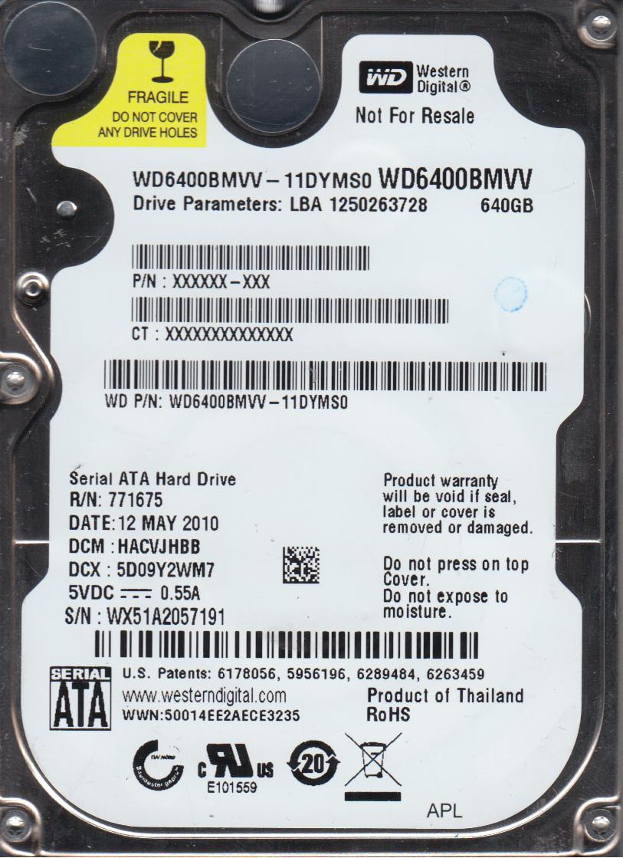 WD6400BMVV-11DYMS0, DCM HACVJHBB, Western Digital 640GB USB 2.5 Hard Drive by Western Digital