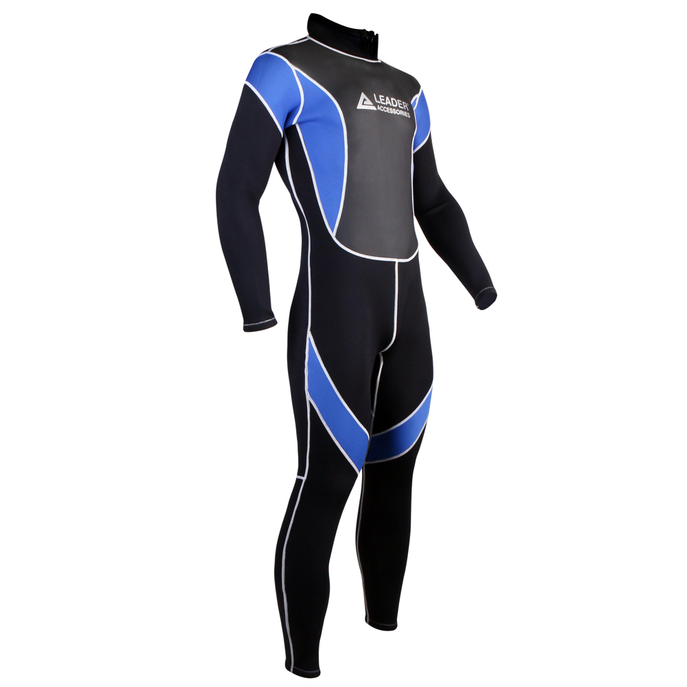 Leader Accessories 2.5mm Black/Blue Men's Fullsuit Jumpsuit Wetsuit
