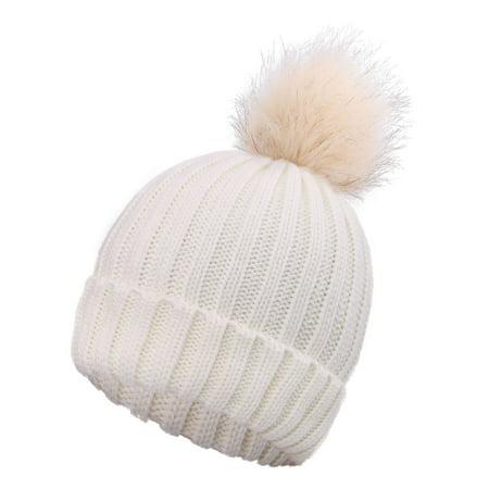 Cute Ladies Women's Girls Fluffy Fur Pompom Knit Winter Beanie Ski Hat Cap ()