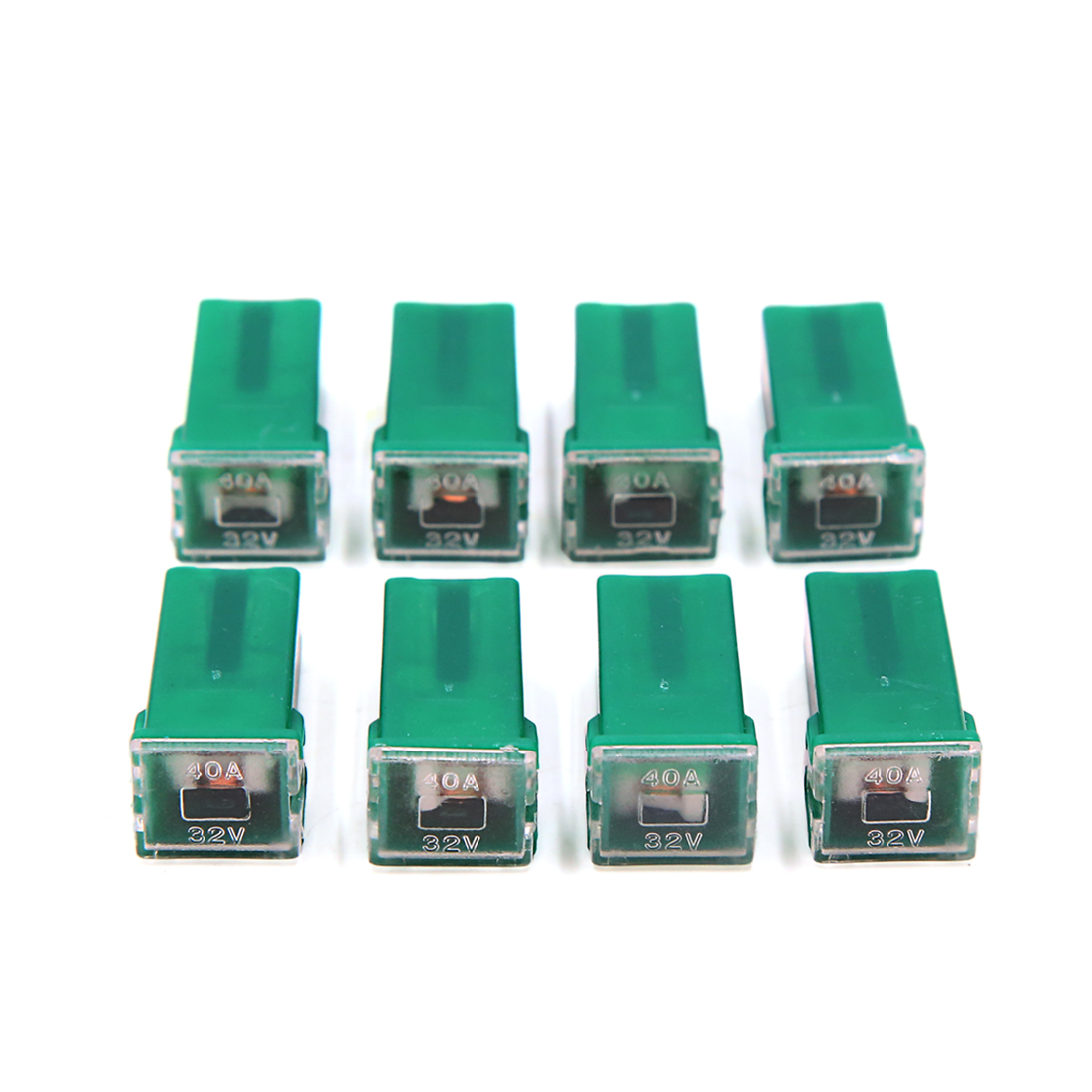 8Pcs Green Auto Car Push-in Type Female PAL Cartridge  Fuse DC 32V 40A