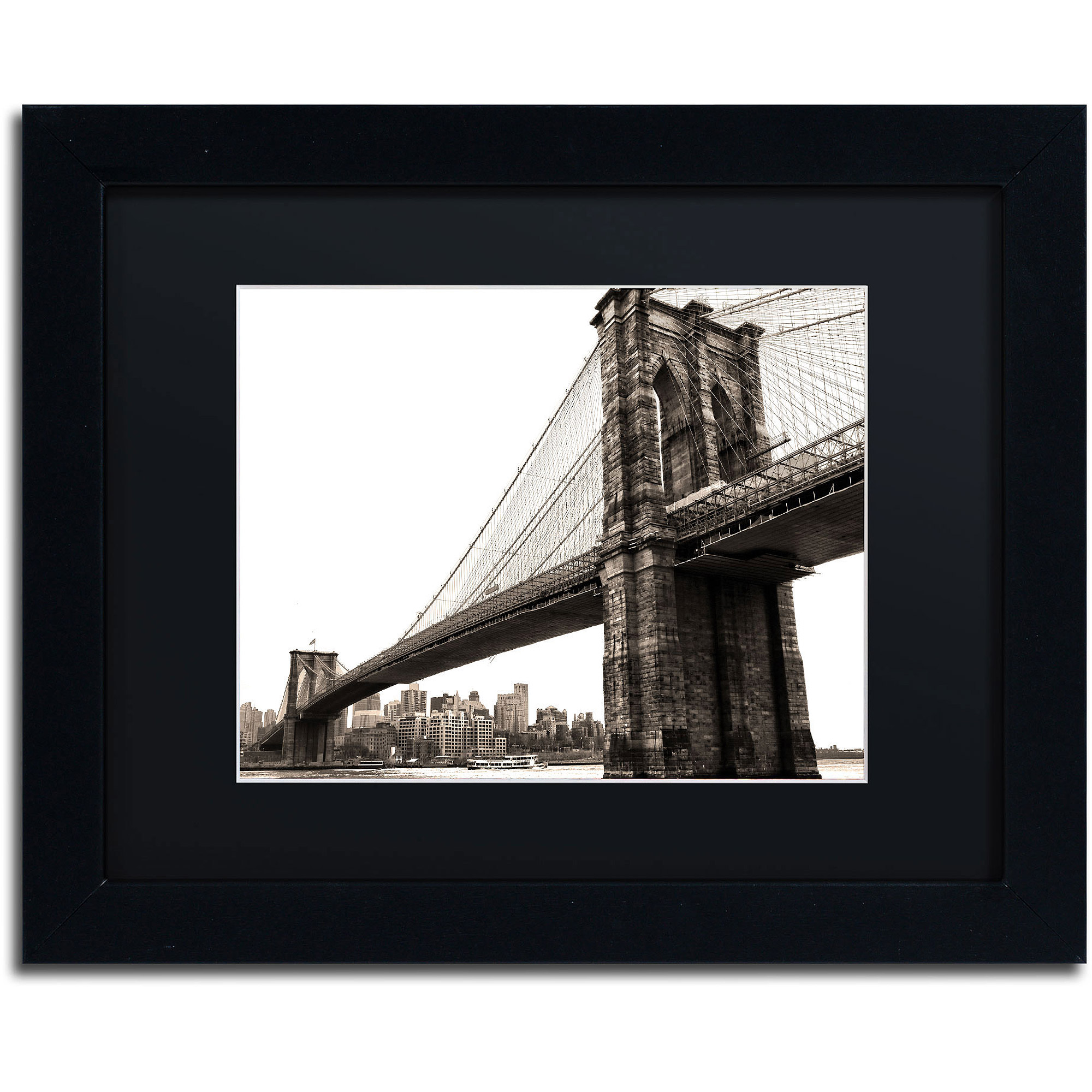 "Trademark Fine Art ""Brooklyn Bridge 2"" Canvas Art by CATeyes, Black Matte, Black Frame"