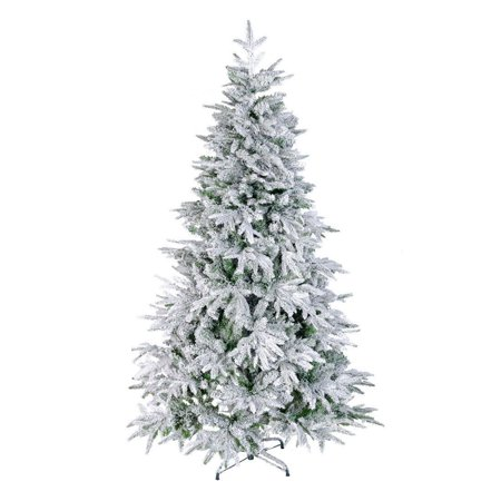 7 Foot FT Artificial Christmas Trees Flocked Snow White Tree PE PVC 1080 Tips ()