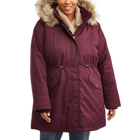 dd32f5cee7c Time and Tru - Women s Plus-Size Heavyweight Parka Jacket With Faux Fur-Trim  Hood - Walmart.com