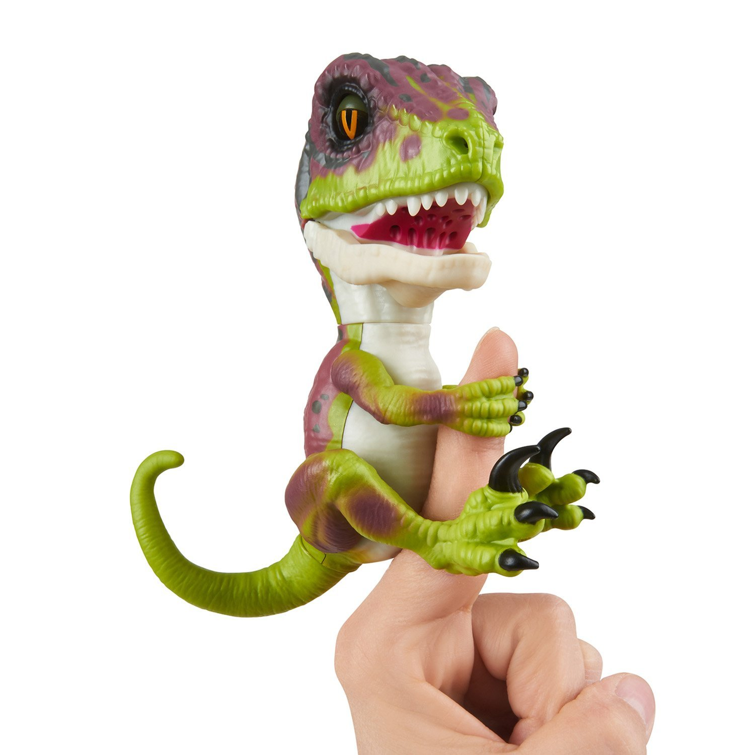 WowWee Untamed Raptor by Fingerlings Interactive Collectible Baby Dinosaur, Stealth (Green)