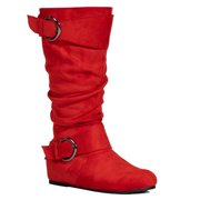 """Wide Calf & Wide Width"" Women's Low Hidden Wedge Knee High Boots w Hidden Pocket - Plus Size Friendly #19149"