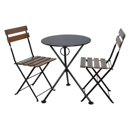 Furniture Designhouse French Cafe Bistro Chestnut Wood 3 Piece Round Folding Patio Bistro Set ()