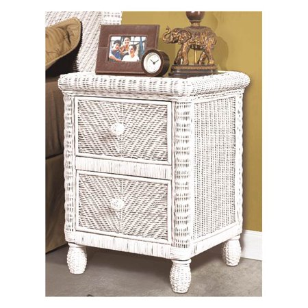 2-Drawers Nightstand in White