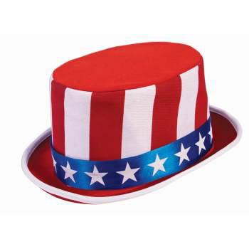 RED/WHT/BLUE PATRIOTIC TOP - Patriotic Top Hat