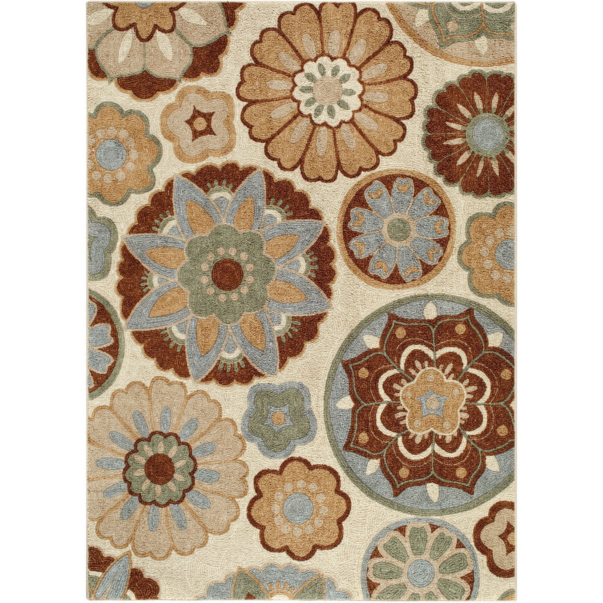 Better Homes and Gardens Suzani Faux Hook Medallion Rug, Tan
