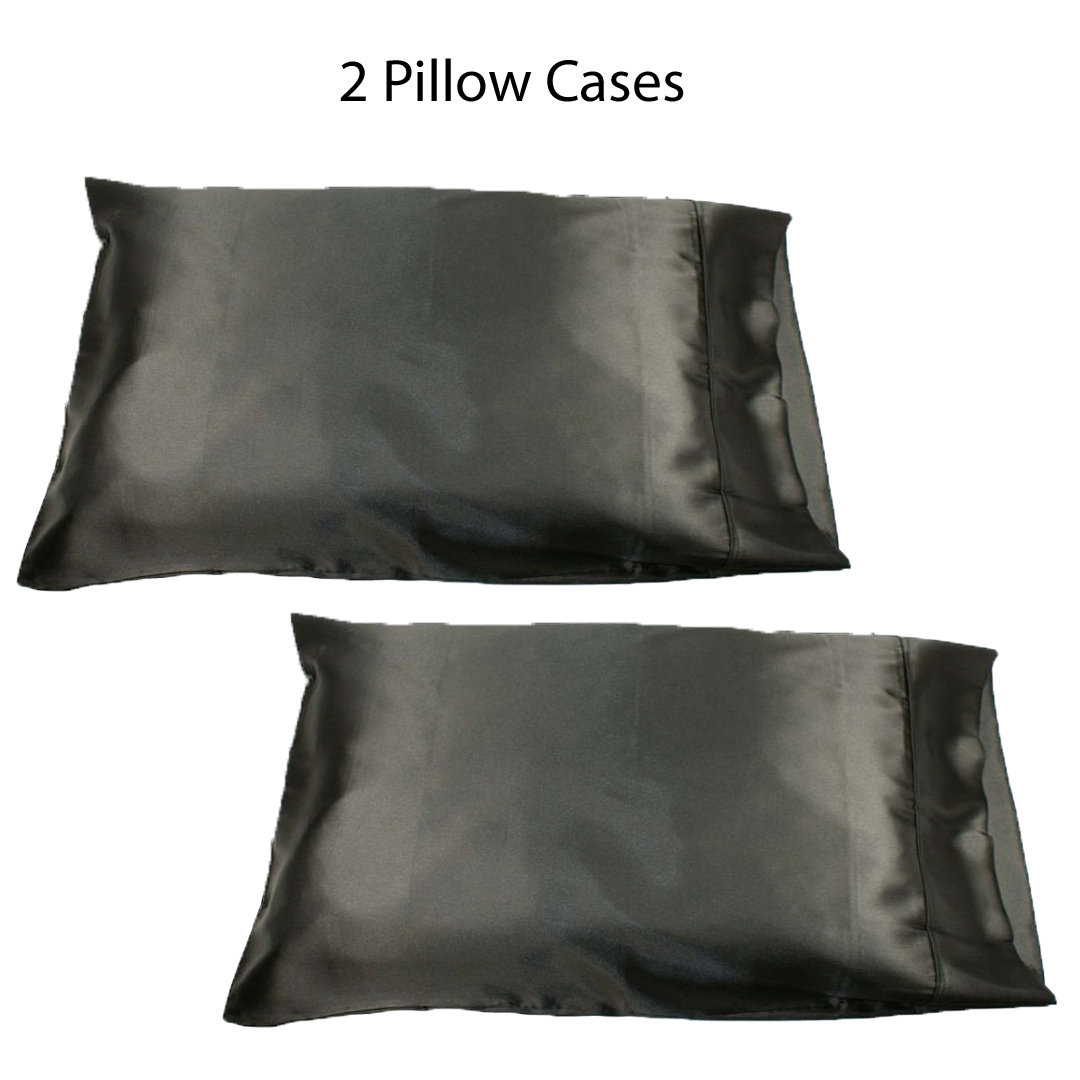 """Set of two (2) Black Soft 100% Satin Pillowcases: Standard Queen, 20"""" x 32"""" by"""