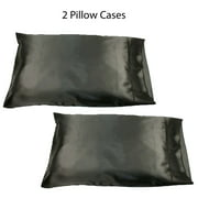 """Set of two (2) Black Soft 100% Satin Pillowcases: Standard Queen, 20"""" x 32"""""""