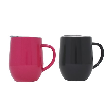 2-Pack Ezprogear 12 oz Coffee Mug Travel Cup Stainless Steel  Double Wall Vacuum Insulated with Slider Lid (Black/Fuchsia)