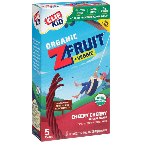 Clif Kid Organic Z Fruit + Veggie Twists, Cheery Cherry, 3.2 Oz, 5 Ct