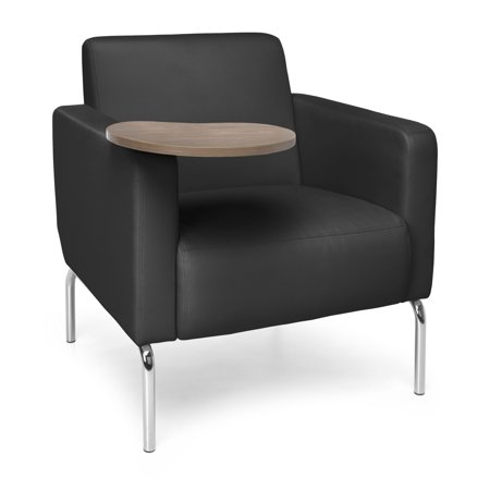 OFM Triumph Series Model 3002T Polyurethane Modular Lounge Chair with Arms and Bronze Tablet, Black