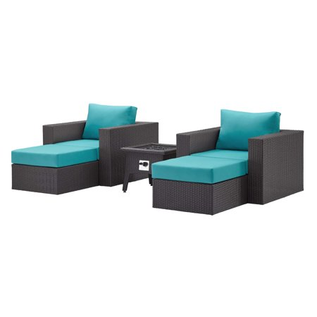 Contemporary Modern Urban Designer Outdoor Patio Balcony Garden Furniture Lounge Sofa, Chair and Coffee Table Fire Pit Set, Fabric Rattan Wicker, Blue