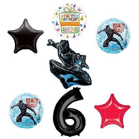 Black Panther 6th Birthday Balloon Bouquet Decorations and Party Supplies - Decorations For A Black And White Party